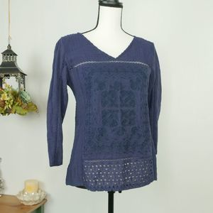 Lucky Brand Blue Eyelet Crochet Embroidered Blouse